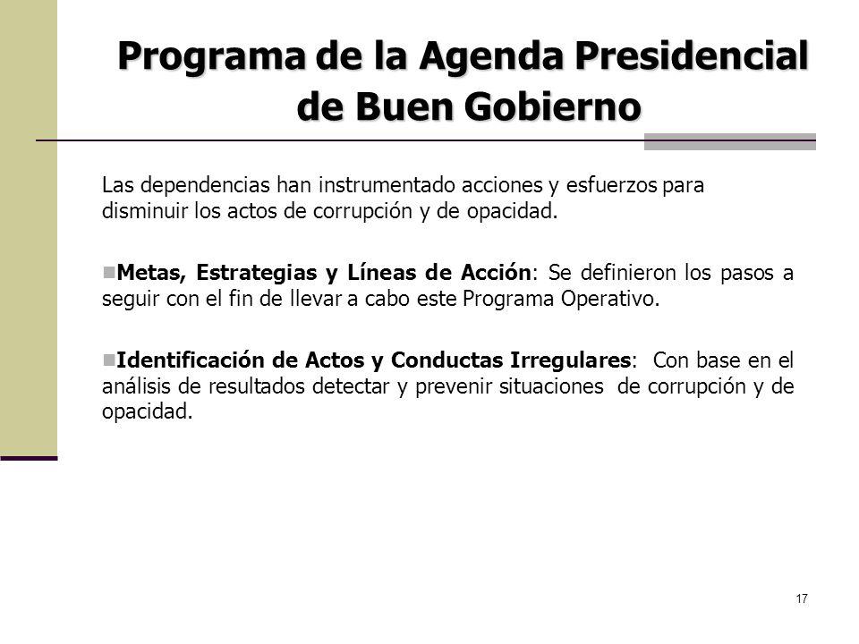 17 Las dependencias han instrumentado acciones y esfuerzos para disminuir los actos de corrupción y de opacidad. Metas, Estrategias y Líneas de Acción