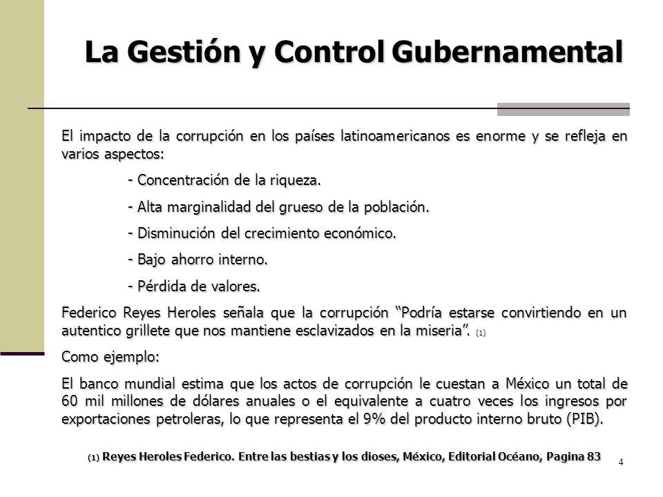 4 La Gestión y Control Gubernamental El impacto de la corrupción en los países latinoamericanos es enorme y se refleja en varios aspectos: - Concentra