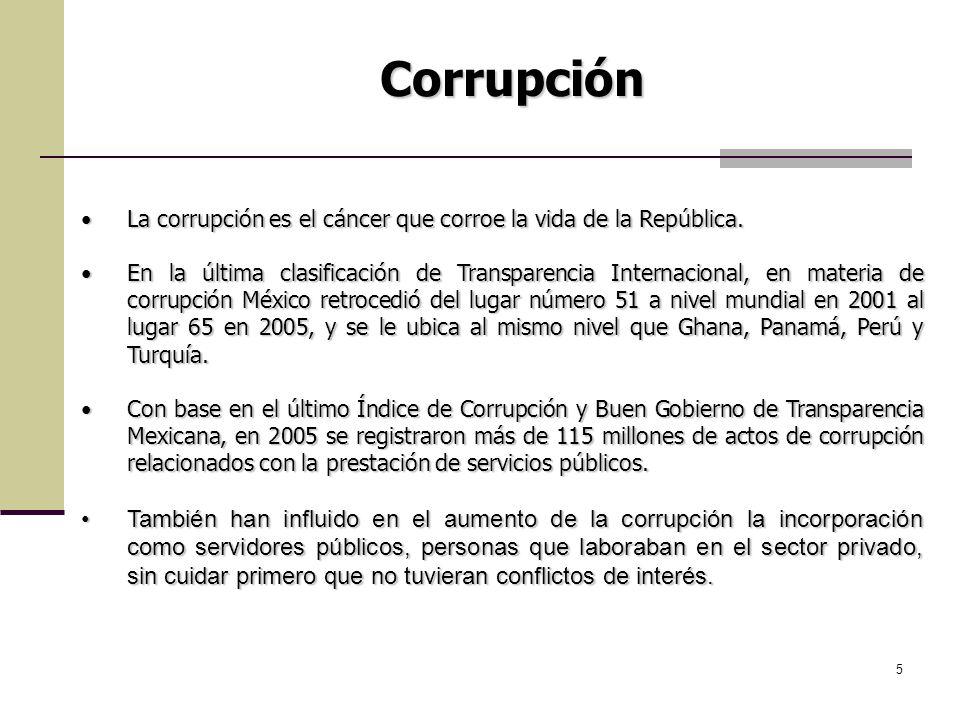5 Corrupción La corrupción es el cáncer que corroe la vida de la República.La corrupción es el cáncer que corroe la vida de la República. En la última