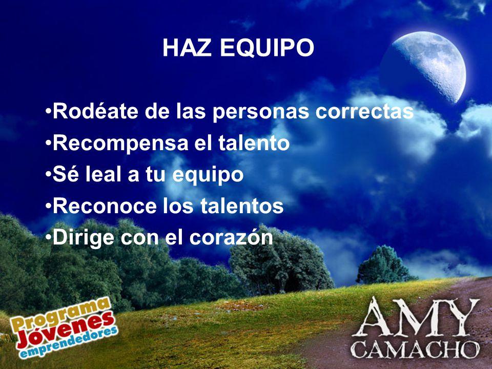 Rodéate de las personas correctas Recompensa el talento Sé leal a tu equipo Reconoce los talentos Dirige con el corazón HAZ EQUIPO