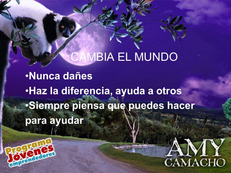 Nunca dañes Haz la diferencia, ayuda a otros Siempre piensa que puedes hacer para ayudar CAMBIA EL MUNDO