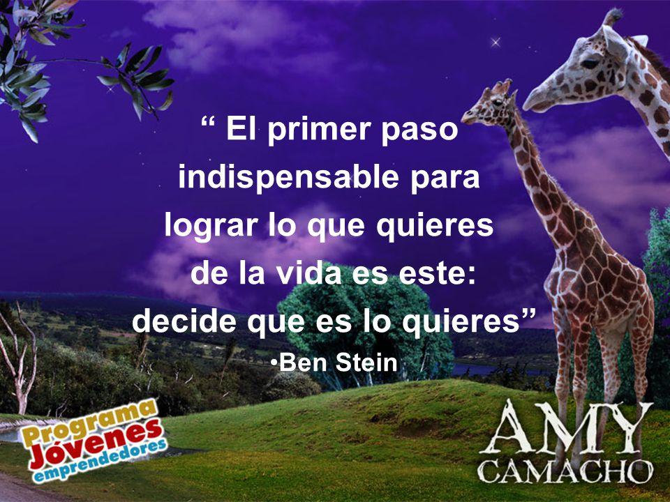 El primer paso indispensable para lograr lo que quieres de la vida es este: decide que es lo quieres Ben Stein