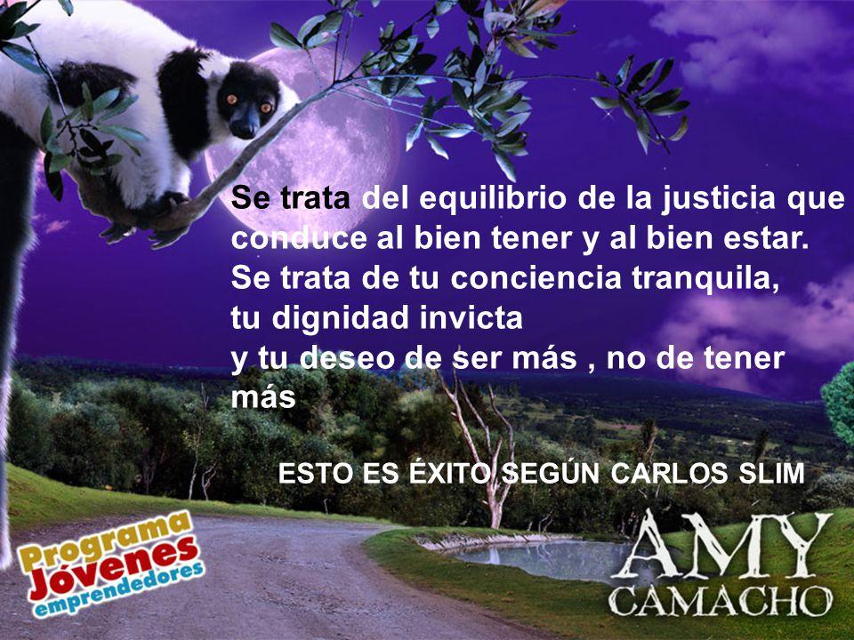 Se trata del equilibrio de la justicia que conduce al bien tener y al bien estar. Se trata de tu conciencia tranquila, tu dignidad invicta y tu deseo