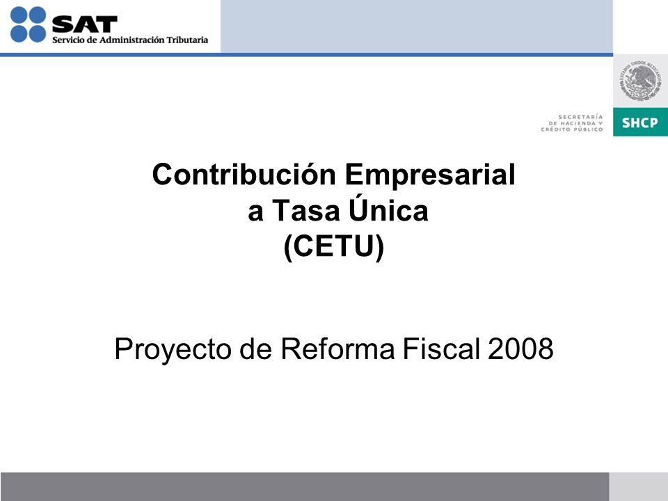 Contribución Empresarial a Tasa Única (CETU) Proyecto de Reforma Fiscal 2008