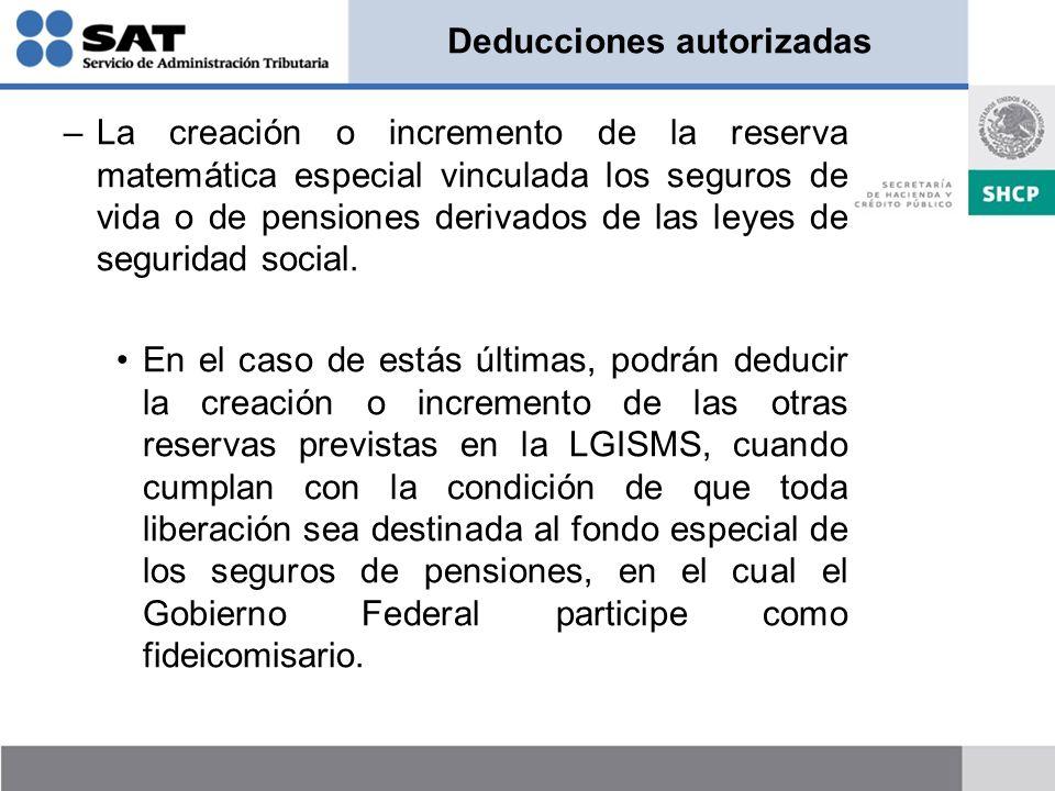 Deducciones autorizadas –La creación o incremento de la reserva matemática especial vinculada los seguros de vida o de pensiones derivados de las leye