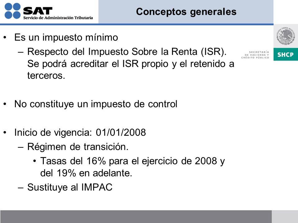 Conceptos generales Es un impuesto mínimo –Respecto del Impuesto Sobre la Renta (ISR). Se podrá acreditar el ISR propio y el retenido a terceros. No c