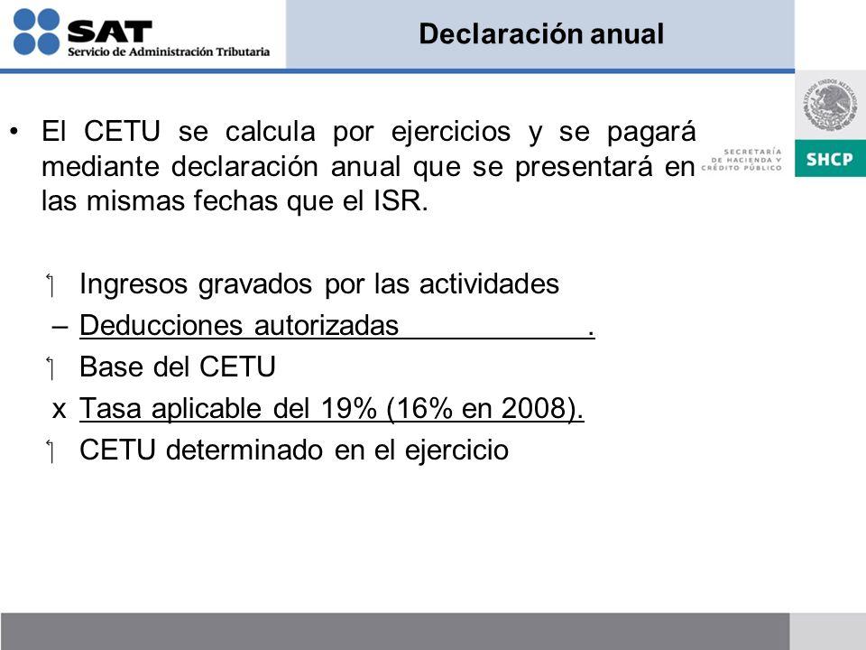 Declaración anual El CETU se calcula por ejercicios y se pagará mediante declaración anual que se presentará en las mismas fechas que el ISR. Ingresos