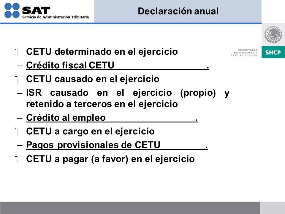 Declaración anual CETU determinado en el ejercicio –Crédito fiscal CETU. CETU causado en el ejercicio –ISR causado en el ejercicio (propio) y retenido