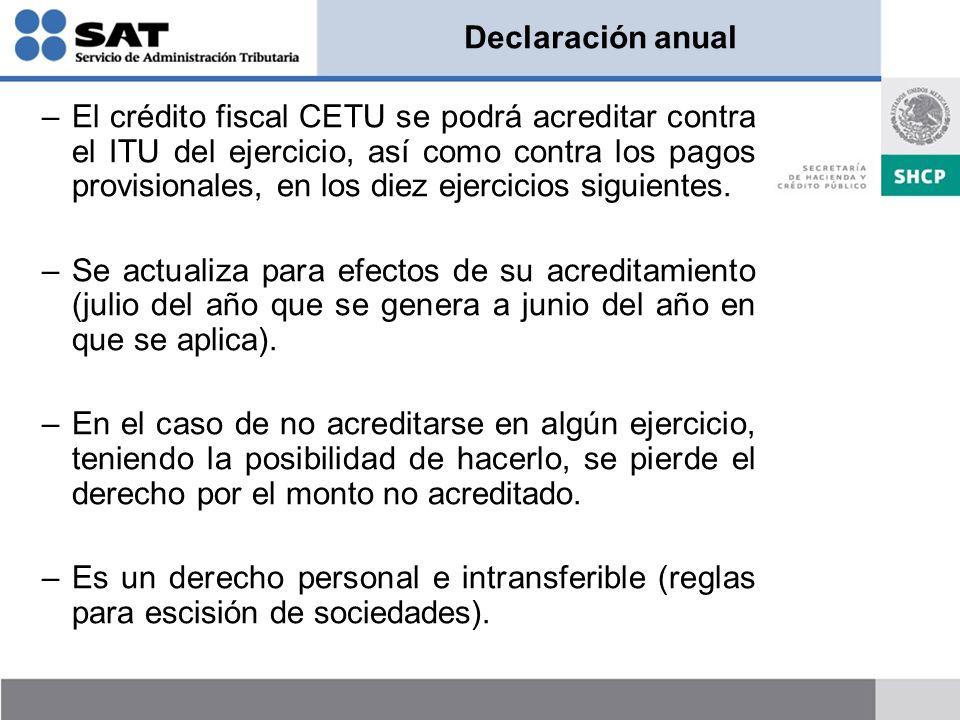 Declaración anual –El crédito fiscal CETU se podrá acreditar contra el ITU del ejercicio, así como contra los pagos provisionales, en los diez ejercic