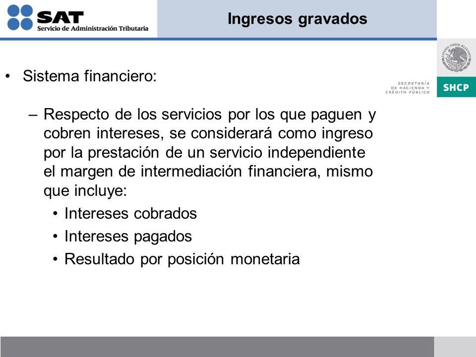 Ingresos gravados Sistema financiero: –Respecto de los servicios por los que paguen y cobren intereses, se considerará como ingreso por la prestación