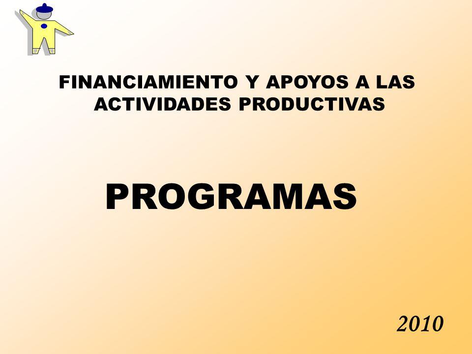 2010 FINANCIAMIENTO Y APOYOS A LAS ACTIVIDADES PRODUCTIVAS PROGRAMAS