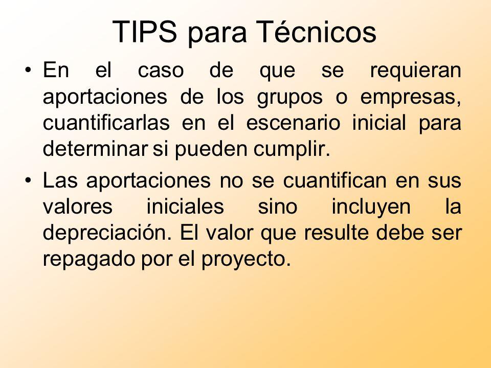 TIPS para Técnicos En el caso de que se requieran aportaciones de los grupos o empresas, cuantificarlas en el escenario inicial para determinar si pue