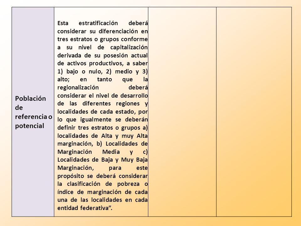 Población de referencia o potencial Esta estratificación deberá considerar su diferenciación en tres estratos o grupos conforme a su nivel de capitali