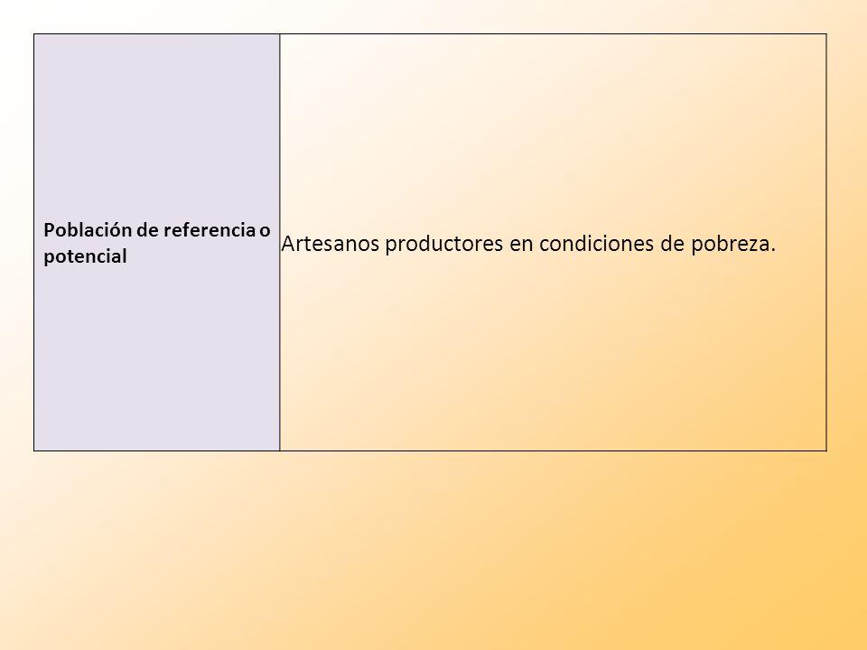 Población de referencia o potencial Artesanos productores en condiciones de pobreza.