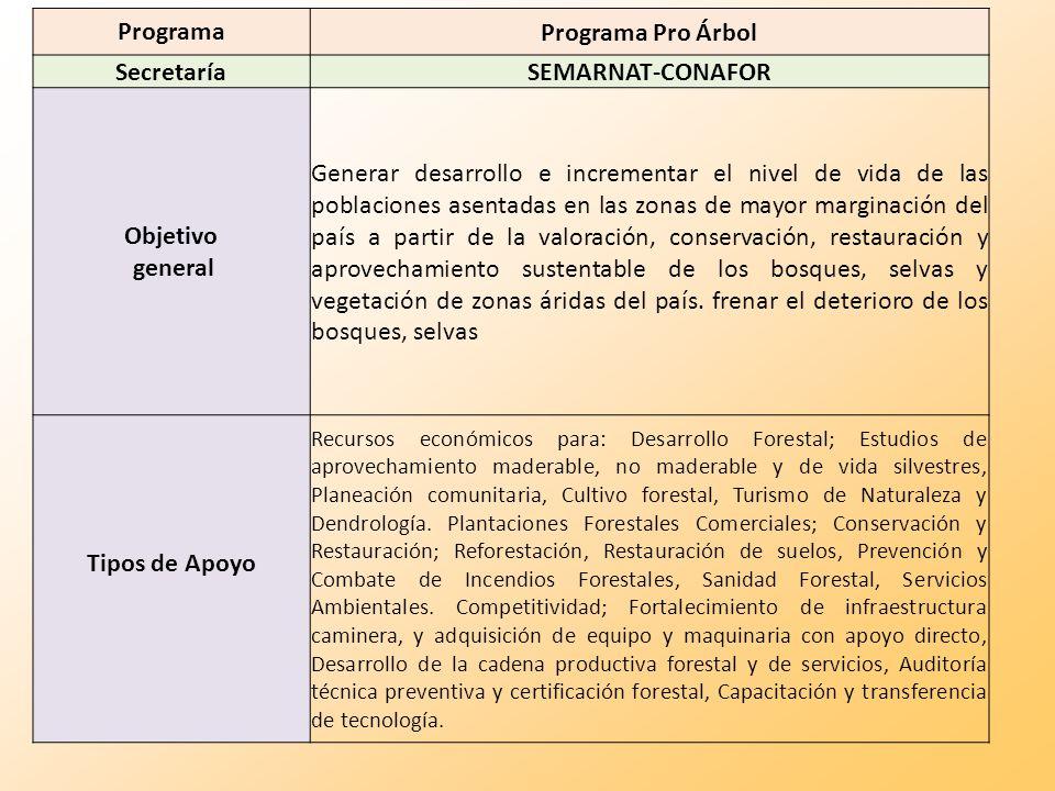 Programa Programa Pro Árbol Secretaría SEMARNAT-CONAFOR Objetivo general Generar desarrollo e incrementar el nivel de vida de las poblaciones asentada
