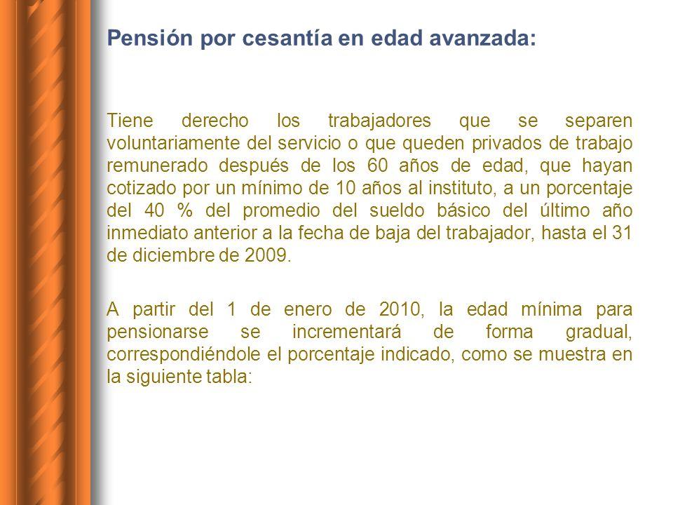 Pensión por cesantía en edad avanzada: Tiene derecho los trabajadores que se separen voluntariamente del servicio o que queden privados de trabajo rem