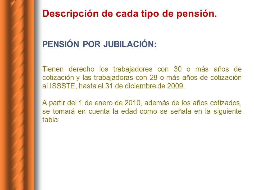 Años Edad mínima de Jubilación Trabajadores (Hombre) Edad mínima de Jubilación Trabajadores (Mujer) 2010 – 201151 años de edad49 años de edad 2012 - 201352 años de edad50 años de edad 2014 - 201553 años de edad51 años de edad 2016 - 201754 años de edad52 años de edad 2018 – 201955 años de edad53 años de edad 2020 - 202156 años de edad54 años de edad 2022 - 202357 años de edad55 años de edad 2024 - 202558 años de edad56 años de edad 2026 - 202759 años de edad57 años de edad 2028 en adelante6058 El importe de la Pensión: será 100% del sueldo básico promedio del último año inmediato anterior a la fecha de baja del trabajador (a).