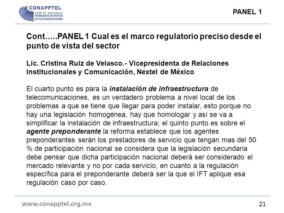 Cont…..PANEL 1 Cual es el marco regulatorio preciso desde el punto de vista del sector Lic. Cristina Ruiz de Velasco.- Vicepresidenta de Relaciones In
