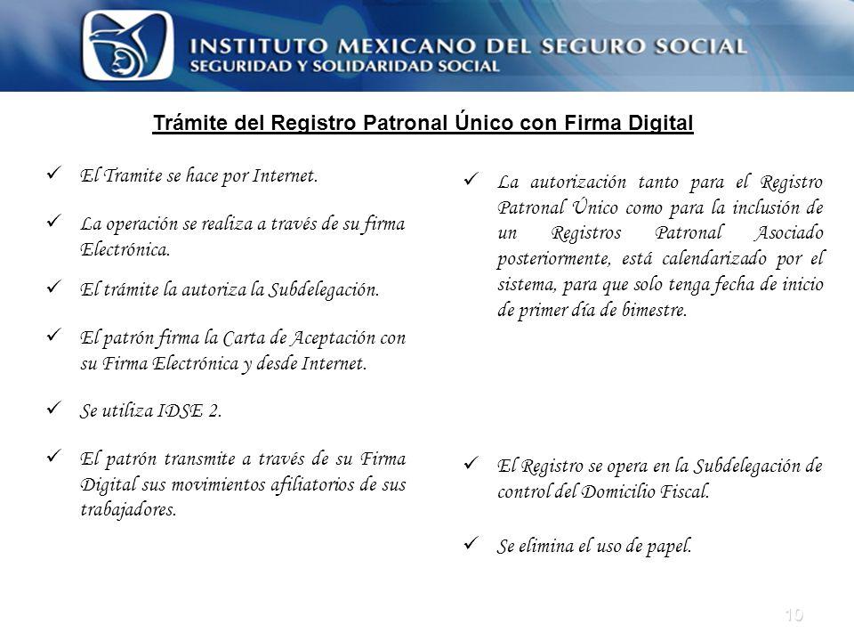 10 Trámite del Registro Patronal Único con Firma Digital El Tramite se hace por Internet. La operación se realiza a través de su firma Electrónica. El