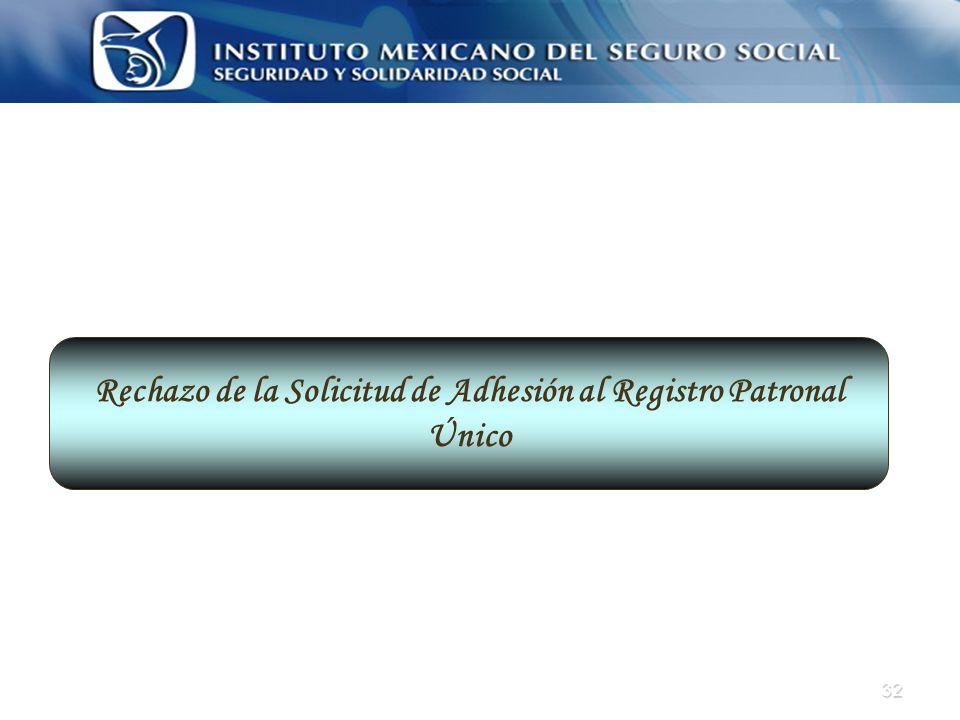 32 Rechazo de la Solicitud de Adhesión al Registro Patronal Único
