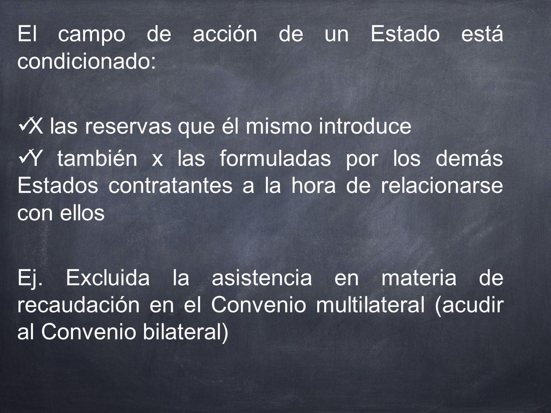 El campo de acción de un Estado está condicionado: X las reservas que él mismo introduce Y también x las formuladas por los demás Estados contratantes