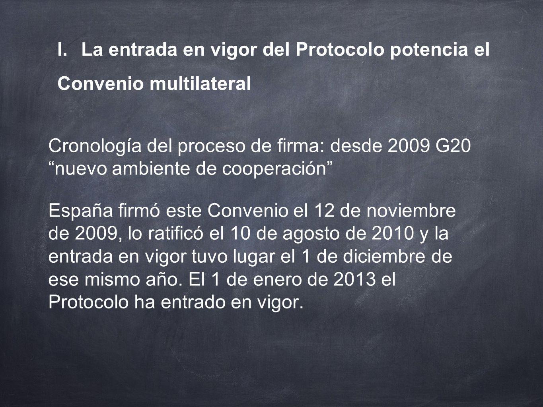 I. La entrada en vigor del Protocolo potencia el Convenio multilateral Cronología del proceso de firma: desde 2009 G20nuevo ambiente de cooperación Es