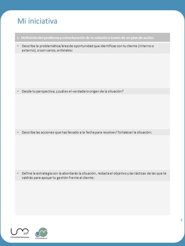 9 9 I.- Definición del problema y estructuración de la solución a través de un plan de acción.