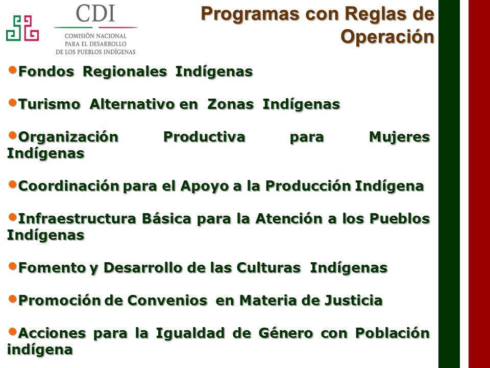El programa tiene como objetivo Incrementar el acceso de la población Indígena que forma parte de los Fondos Regionales, a los apoyos y al financiamiento para proyectos productivos.
