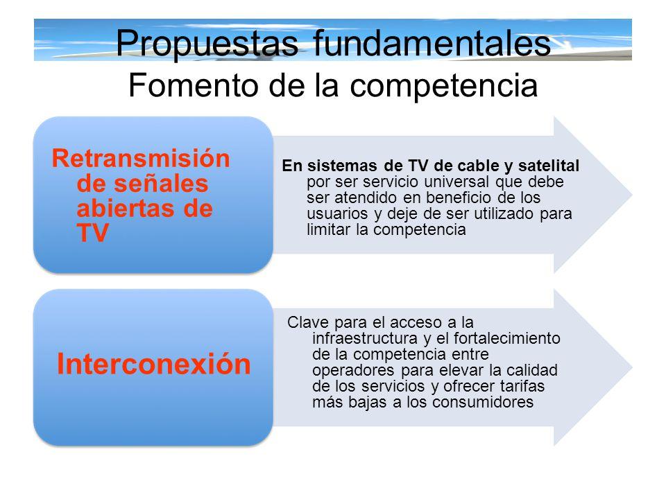 Propuestas fundamentales Fomento de la competencia Retransmisión de señales abiertas de TV Interconexión En sistemas de TV de cable y satelital por se