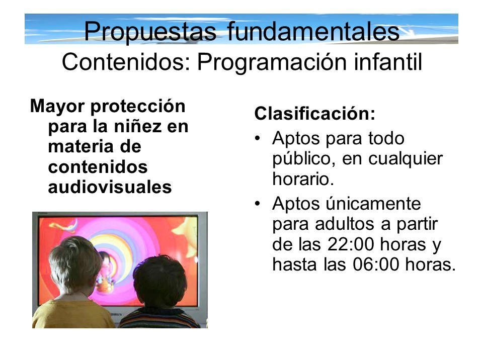 Propuestas fundamentales Contenidos: Programación infantil Clasificación: Aptos para todo público, en cualquier horario. Aptos únicamente para adultos