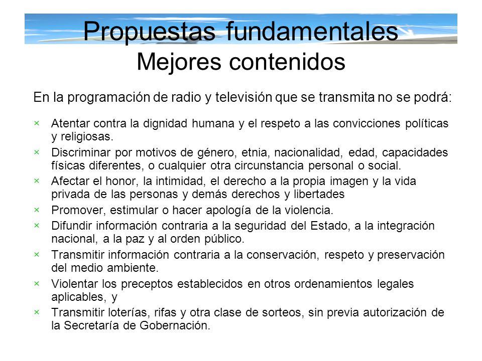 Propuestas fundamentales Mejores contenidos En la programación de radio y televisión que se transmita no se podrá: ×Atentar contra la dignidad humana