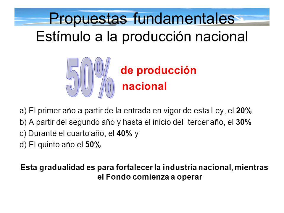 Propuestas fundamentales Estímulo a la producción nacional de producción nacional a) El primer año a partir de la entrada en vigor de esta Ley, el 20%