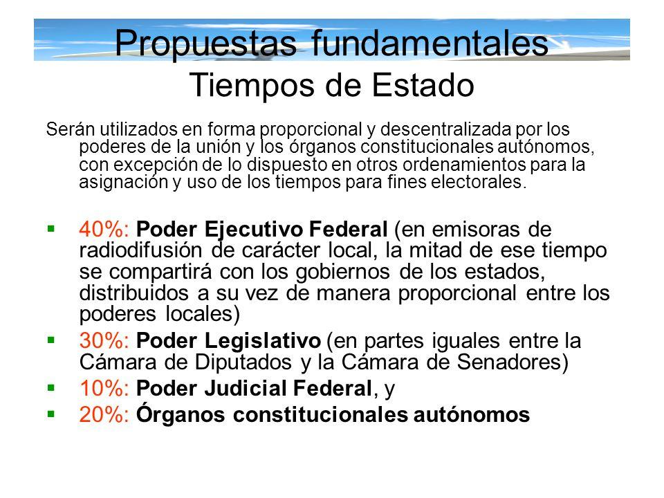 Propuestas fundamentales Tiempos de Estado Serán utilizados en forma proporcional y descentralizada por los poderes de la unión y los órganos constitu