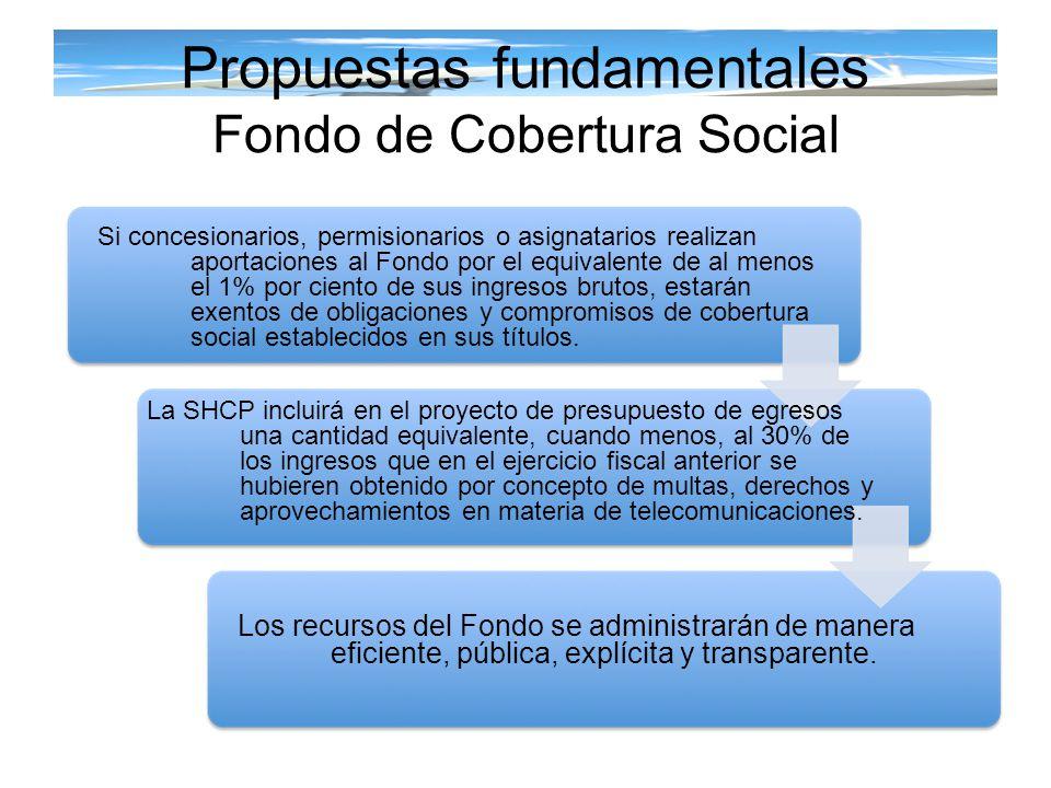 Propuestas fundamentales Fondo de Cobertura Social Si concesionarios, permisionarios o asignatarios realizan aportaciones al Fondo por el equivalente