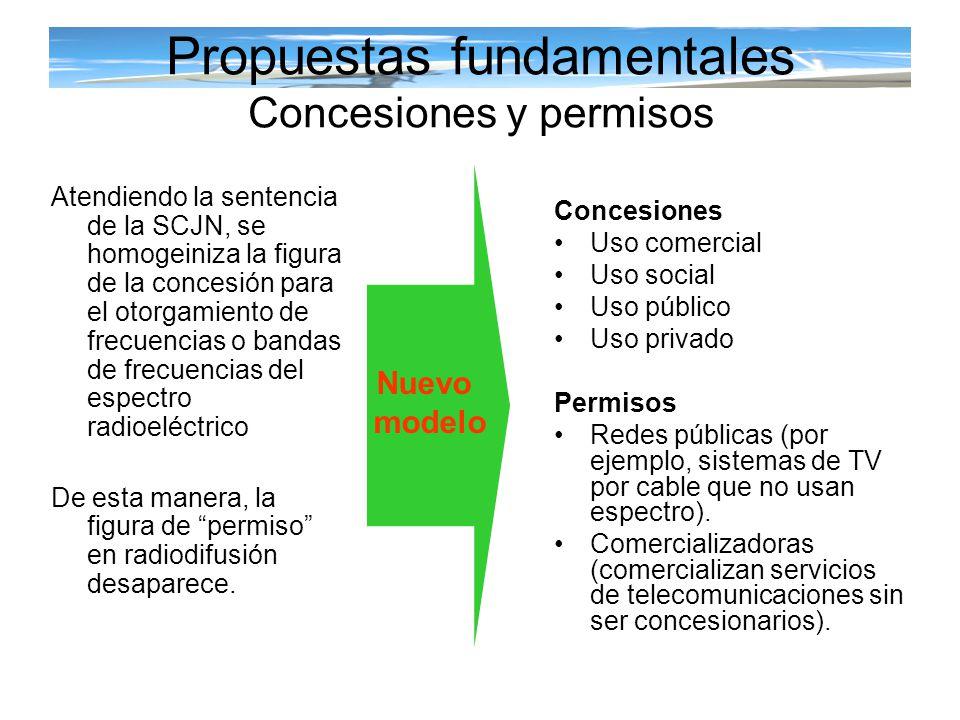 Propuestas fundamentales Concesiones de uso comercial Pago de contraprestación por las concesiones * 10 años en radiodifusión * 15 años en telecomunicaciones Licitación pública sin subasta Criterios transparentes en el proceso de otorgamiento de concesiones