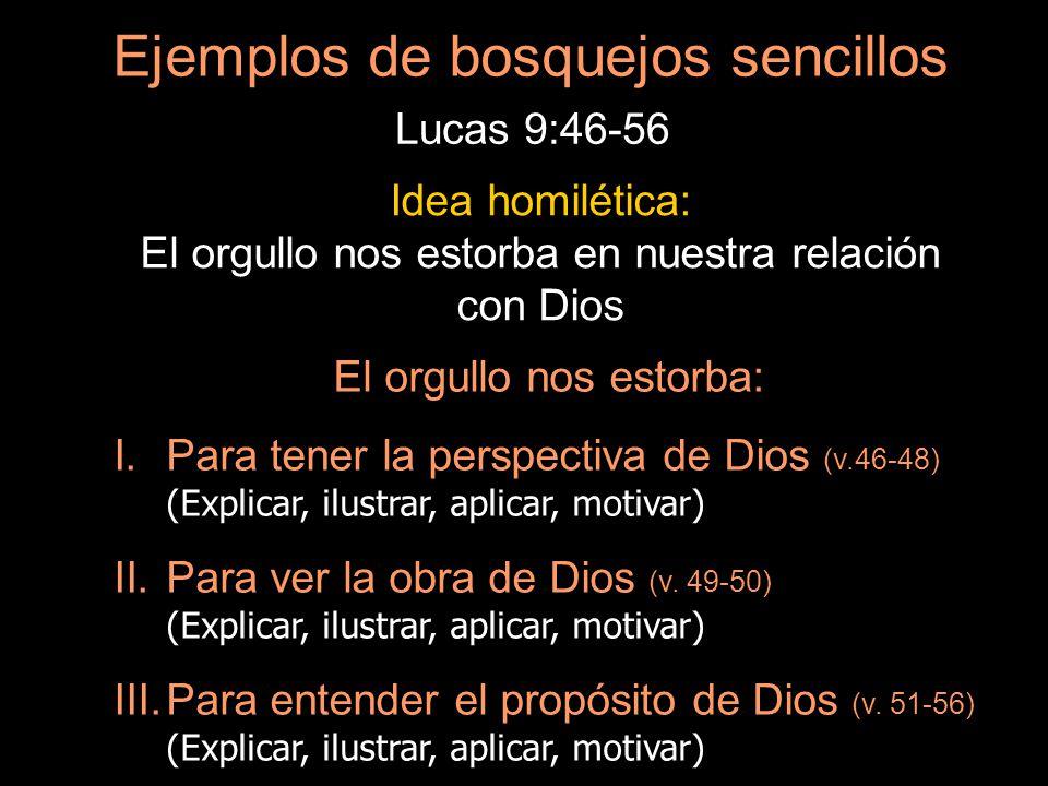 Ejemplos de bosquejos sencillos Lucas 9:46-56 Idea homilética: El orgullo nos estorba en nuestra relación con Dios El orgullo nos estorba: I.Para tene