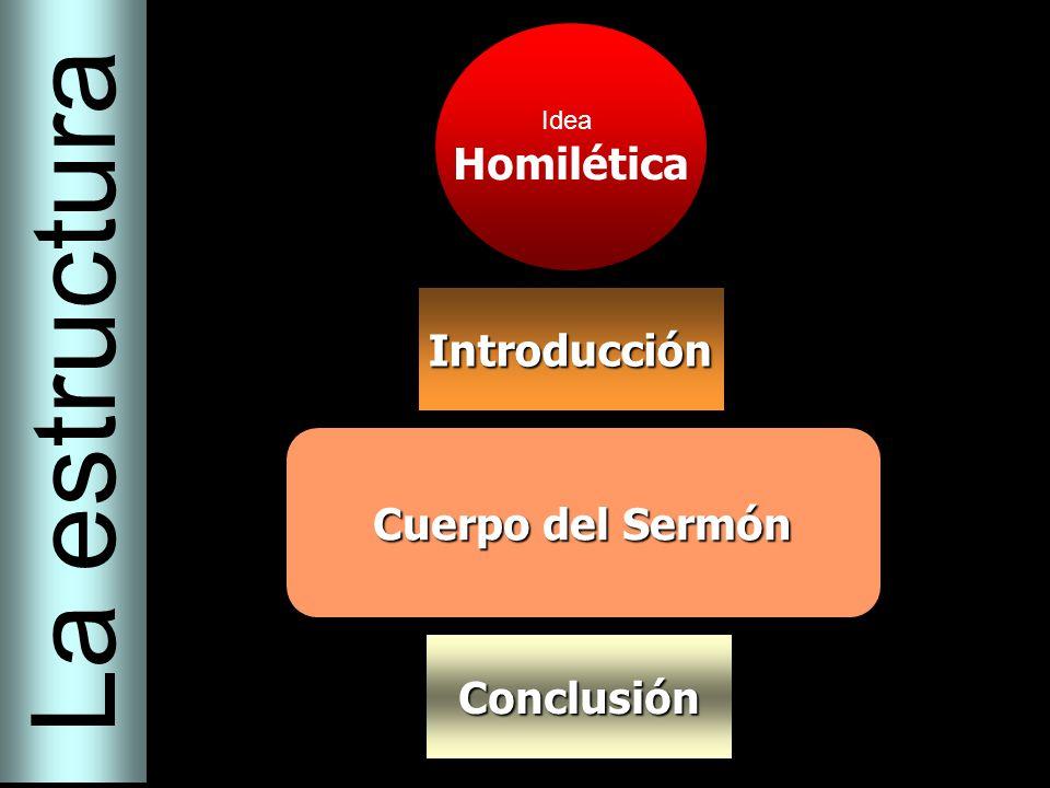 Idea Homilética Introducción Cuerpo del Sermón Conclusión La estructura