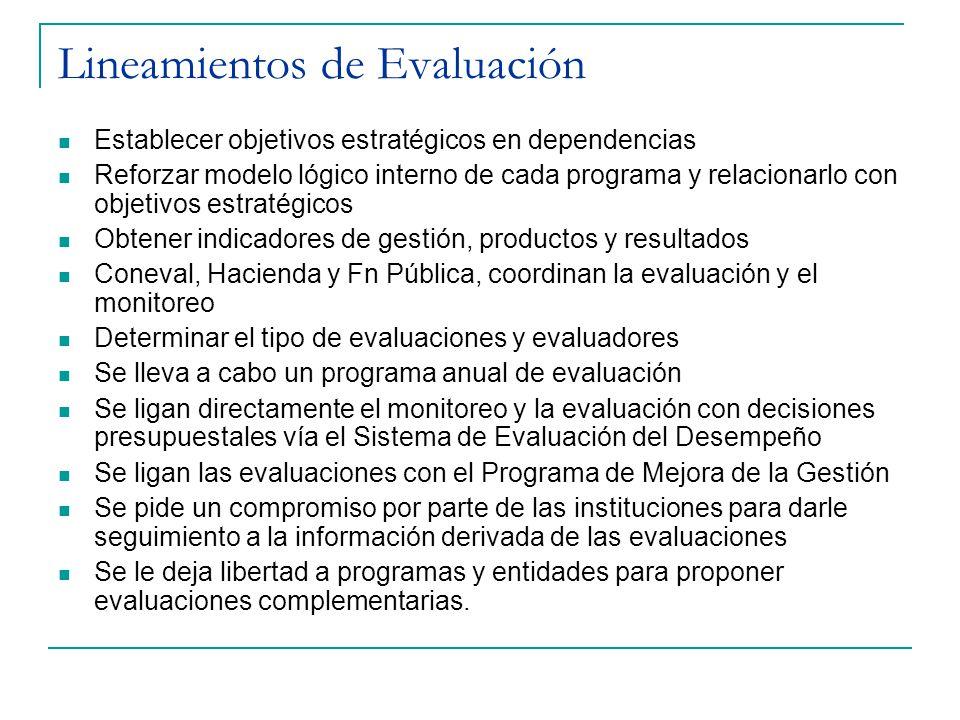 Lineamientos de Evaluación Establecer objetivos estratégicos en dependencias Reforzar modelo lógico interno de cada programa y relacionarlo con objetivos estratégicos Obtener indicadores de gestión, productos y resultados Coneval, Hacienda y Fn Pública, coordinan la evaluación y el monitoreo Determinar el tipo de evaluaciones y evaluadores Se lleva a cabo un programa anual de evaluación Se ligan directamente el monitoreo y la evaluación con decisiones presupuestales vía el Sistema de Evaluación del Desempeño Se ligan las evaluaciones con el Programa de Mejora de la Gestión Se pide un compromiso por parte de las instituciones para darle seguimiento a la información derivada de las evaluaciones Se le deja libertad a programas y entidades para proponer evaluaciones complementarias.