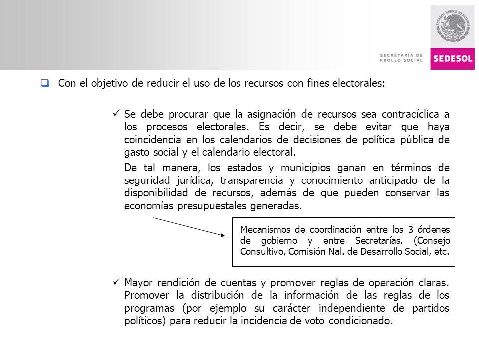 Con el objetivo de reducir el uso de los recursos con fines electorales: Se debe procurar que la asignación de recursos sea contracíclica a los procesos electorales.