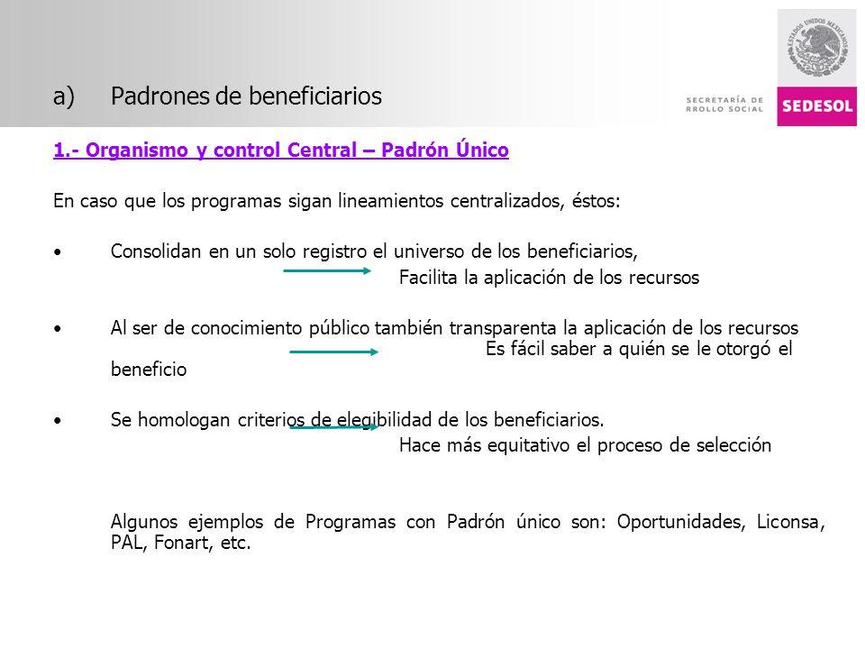 a)Padrones de beneficiarios 1.- Organismo y control Central – Padrón Único En caso que los programas sigan lineamientos centralizados, éstos: Consolid