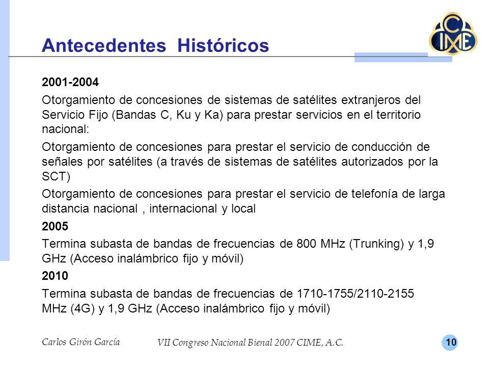 10 Antecedentes Históricos 2001-2004 Otorgamiento de concesiones de sistemas de satélites extranjeros del Servicio Fijo (Bandas C, Ku y Ka) para prest