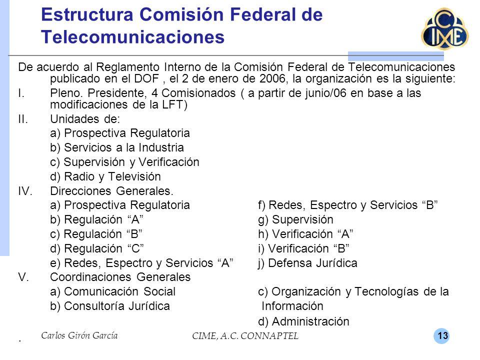 13 Carlos Girón García CIME, A.C. CONNAPTEL Estructura Comisión Federal de Telecomunicaciones De acuerdo al Reglamento Interno de la Comisión Federal