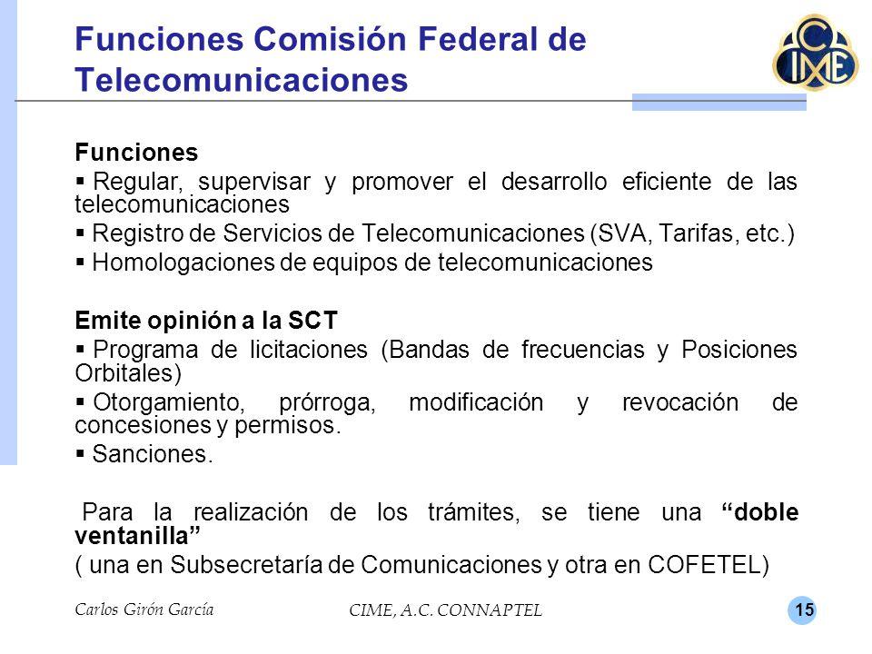 15 Carlos Girón García CIME, A.C. CONNAPTEL Funciones Comisión Federal de Telecomunicaciones Funciones Regular, supervisar y promover el desarrollo ef