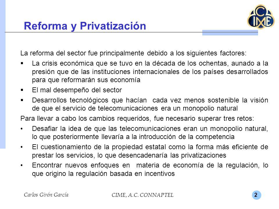 2 Reforma y Privatización La reforma del sector fue principalmente debido a los siguientes factores: La crisis económica que se tuvo en la década de l