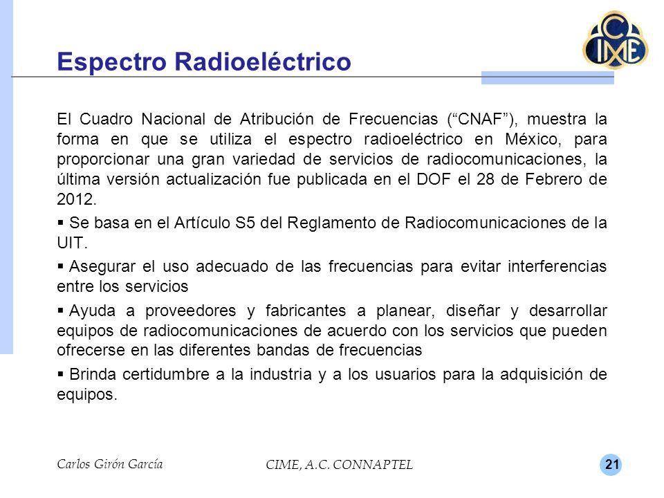 21 Espectro Radioeléctrico El Cuadro Nacional de Atribución de Frecuencias (CNAF), muestra la forma en que se utiliza el espectro radioeléctrico en México, para proporcionar una gran variedad de servicios de radiocomunicaciones, la última versión actualización fue publicada en el DOF el 28 de Febrero de 2012.