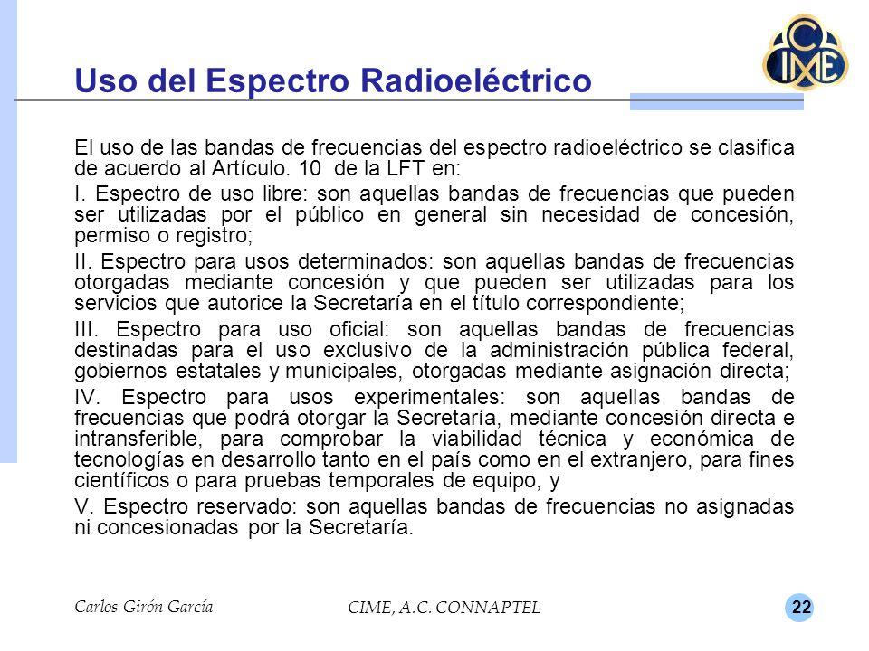 22 Uso del Espectro Radioeléctrico El uso de las bandas de frecuencias del espectro radioeléctrico se clasifica de acuerdo al Artículo. 10 de la LFT e