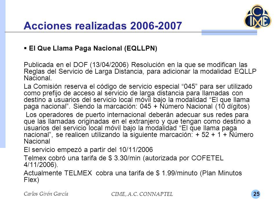 25 Acciones realizadas 2006-2007 El Que Llama Paga Nacional (EQLLPN) Publicada en el DOF (13/04/2006) Resolución en la que se modifican las Reglas del Servicio de Larga Distancia, para adicionar la modalidad EQLLP Nacional.