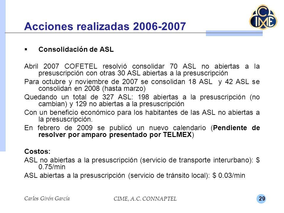 29 Acciones realizadas 2006-2007 Consolidación de ASL Abril 2007 COFETEL resolvió consolidar 70 ASL no abiertas a la presuscripción con otras 30 ASL abiertas a la presuscripción Para octubre y noviembre de 2007 se consolidan 18 ASL y 42 ASL se consolidan en 2008 (hasta marzo) Quedando un total de 327 ASL: 198 abiertas a la presuscripción (no cambian) y 129 no abiertas a la presuscripción Con un beneficio económico para los habitantes de las ASL no abiertas a la presuscripción.