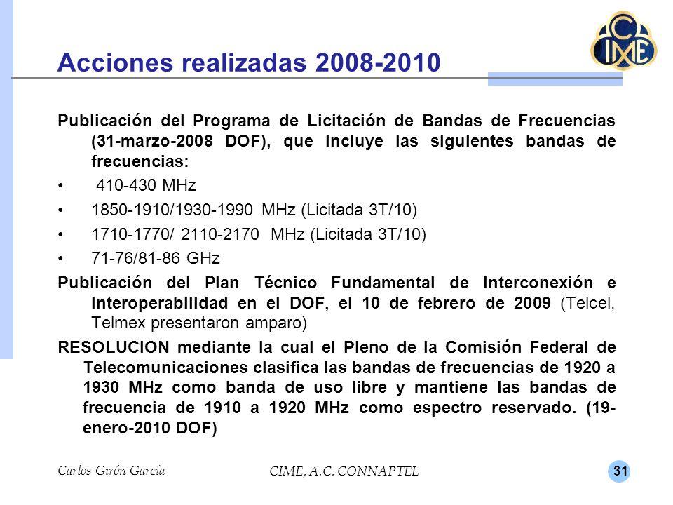31 Acciones realizadas 2008-2010 Publicación del Programa de Licitación de Bandas de Frecuencias (31-marzo-2008 DOF), que incluye las siguientes bandas de frecuencias: 410-430 MHz 1850-1910/1930-1990 MHz (Licitada 3T/10) 1710-1770/ 2110-2170 MHz (Licitada 3T/10) 71-76/81-86 GHz Publicación del Plan Técnico Fundamental de Interconexión e Interoperabilidad en el DOF, el 10 de febrero de 2009 (Telcel, Telmex presentaron amparo) RESOLUCION mediante la cual el Pleno de la Comisión Federal de Telecomunicaciones clasifica las bandas de frecuencias de 1920 a 1930 MHz como banda de uso libre y mantiene las bandas de frecuencia de 1910 a 1920 MHz como espectro reservado.