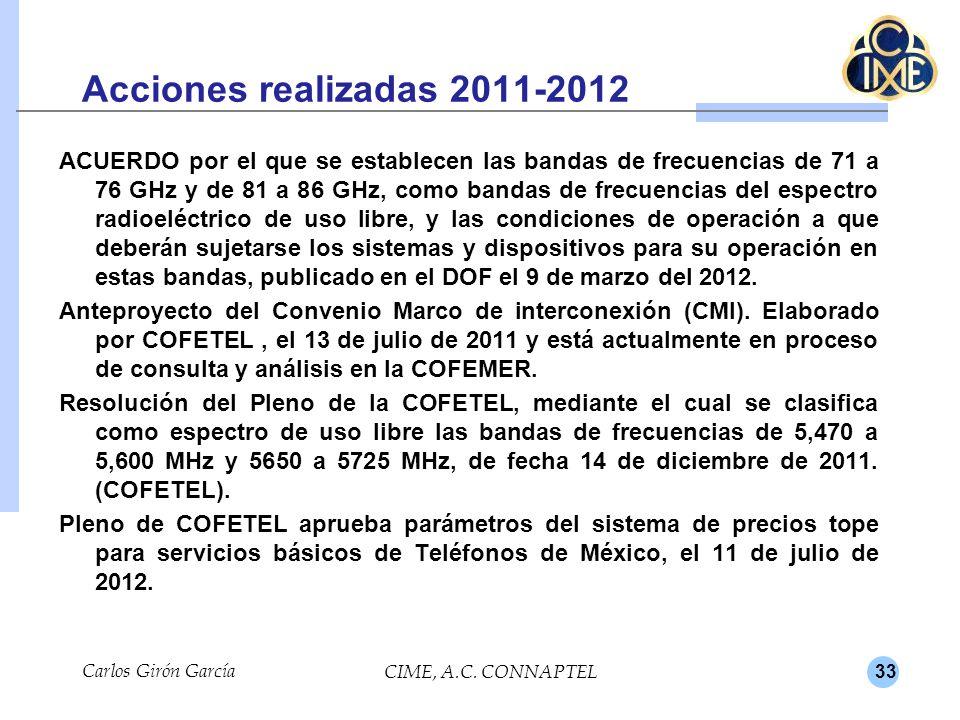 33 Acciones realizadas 2011-2012 ACUERDO por el que se establecen las bandas de frecuencias de 71 a 76 GHz y de 81 a 86 GHz, como bandas de frecuencia